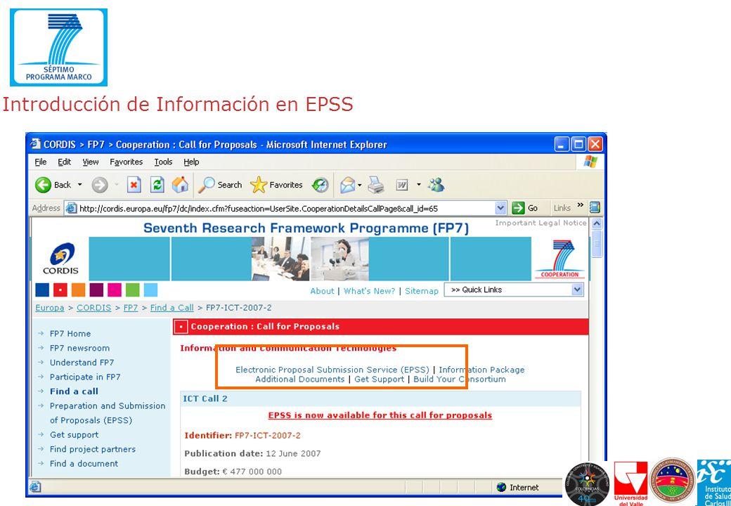 Introducción de Información en EPSS