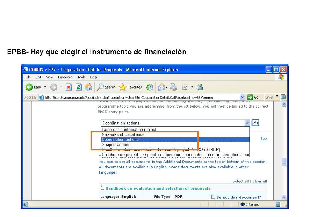 EPSS- Hay que elegir el instrumento de financiación