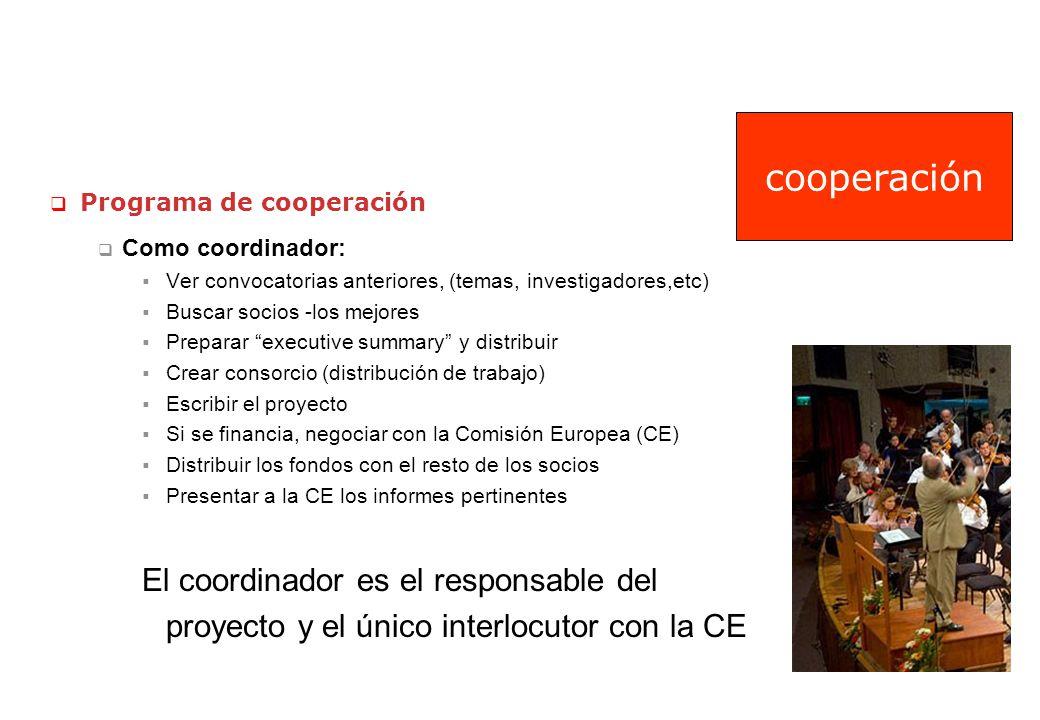 cooperación Programa de cooperación. Como coordinador: Ver convocatorias anteriores, (temas, investigadores,etc)