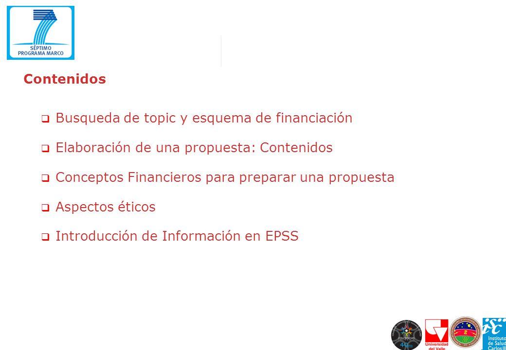Contenidos Busqueda de topic y esquema de financiación. Elaboración de una propuesta: Contenidos. Conceptos Financieros para preparar una propuesta.