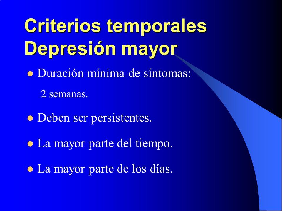 Criterios temporales Depresión mayor
