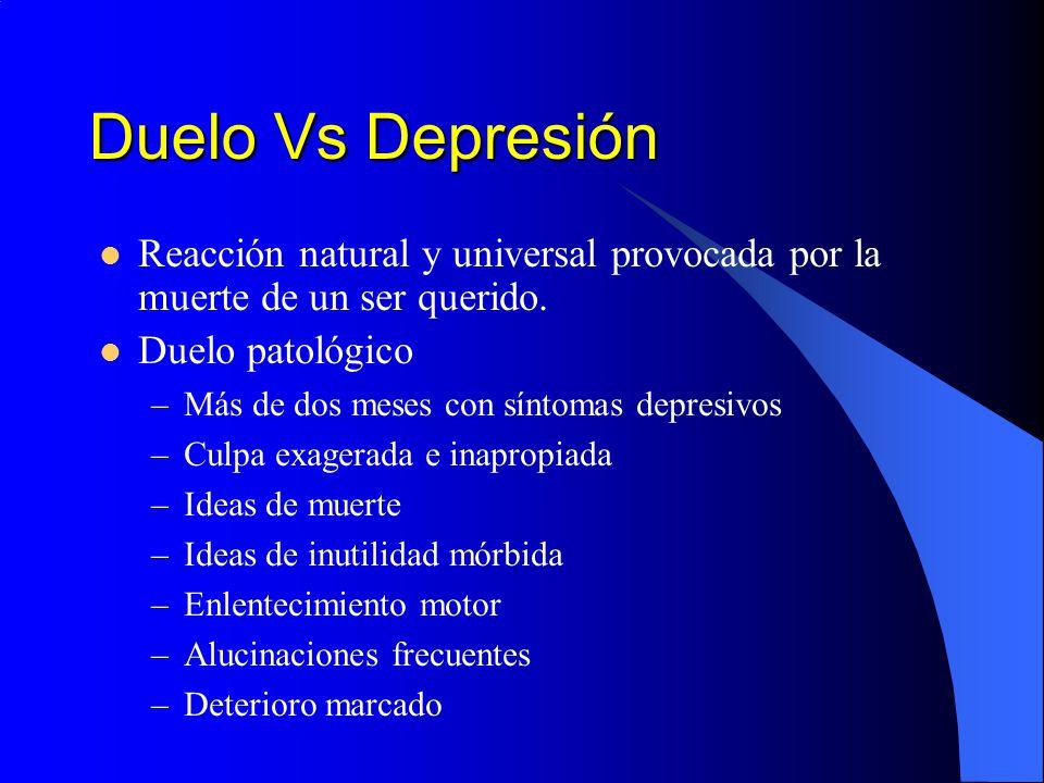 Duelo Vs Depresión Reacción natural y universal provocada por la muerte de un ser querido. Duelo patológico.