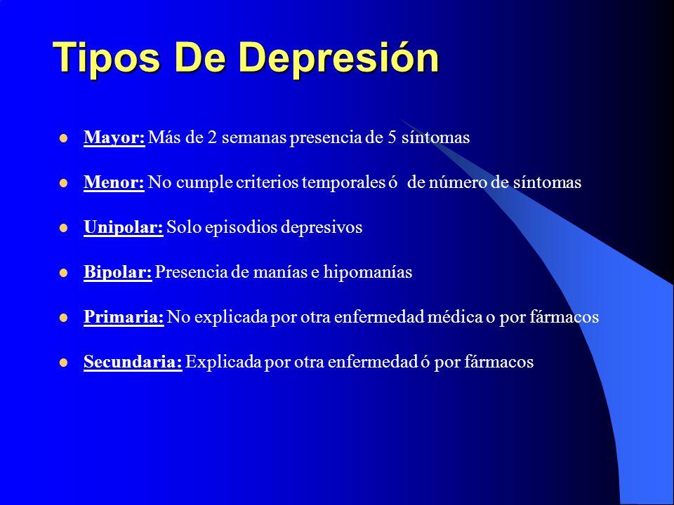 Tipos De Depresión Mayor: Más de 2 semanas presencia de 5 síntomas