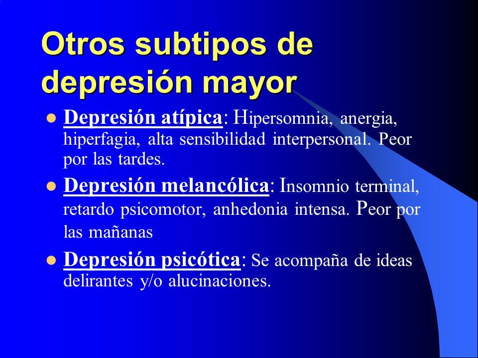 Otros subtipos de depresión mayor