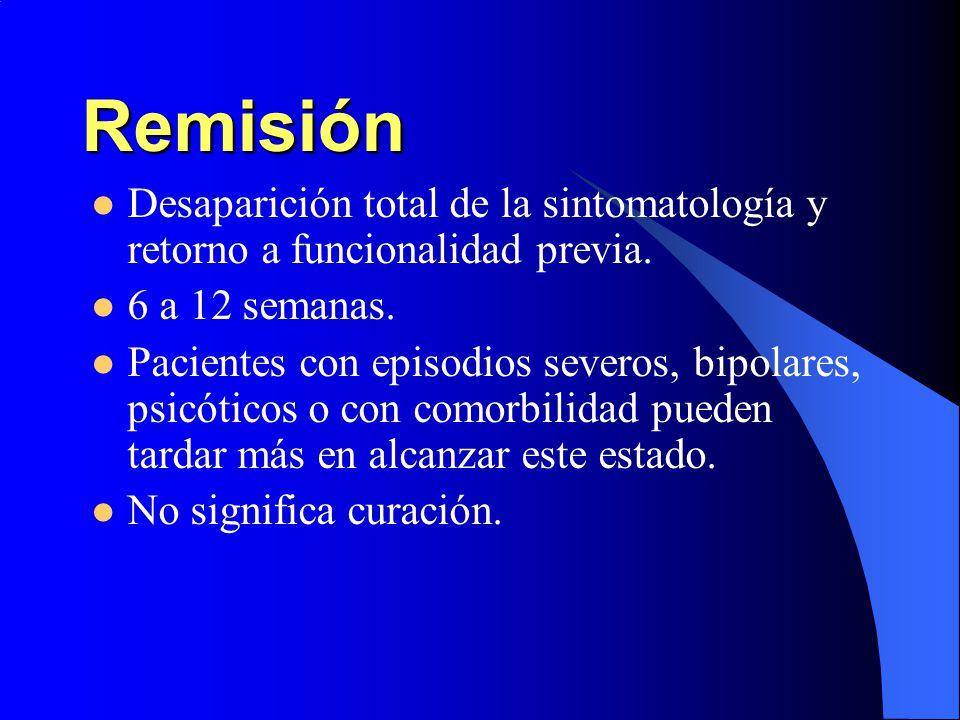 Remisión Desaparición total de la sintomatología y retorno a funcionalidad previa. 6 a 12 semanas.