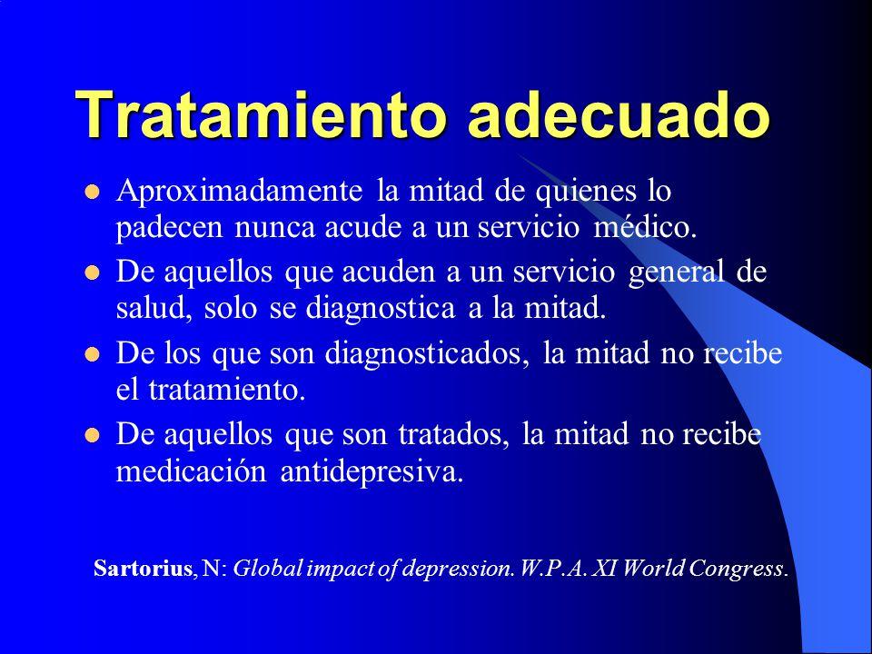Tratamiento adecuado Aproximadamente la mitad de quienes lo padecen nunca acude a un servicio médico.