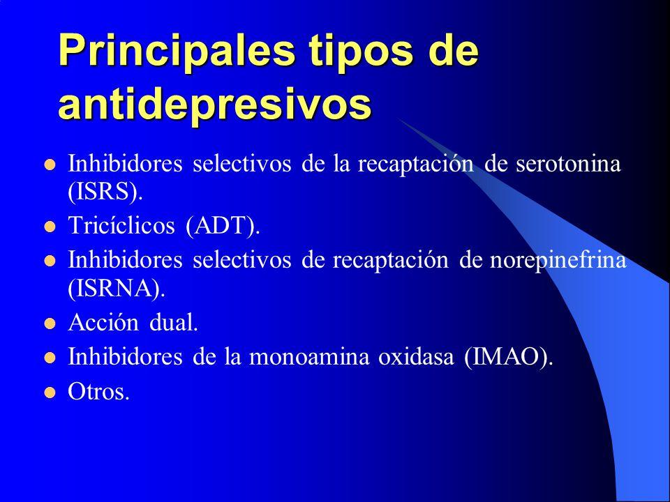 Principales tipos de antidepresivos