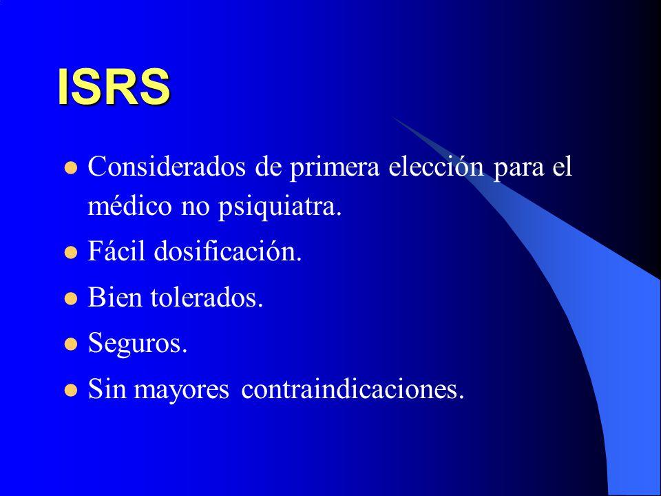 ISRS Considerados de primera elección para el médico no psiquiatra.