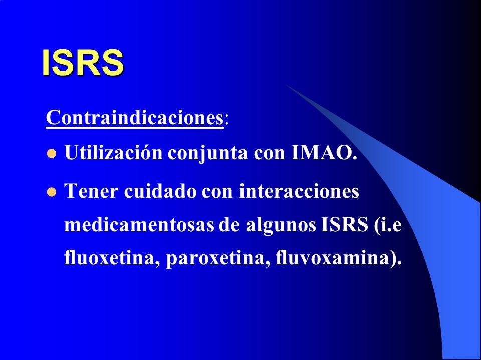 ISRS Contraindicaciones: Utilización conjunta con IMAO.