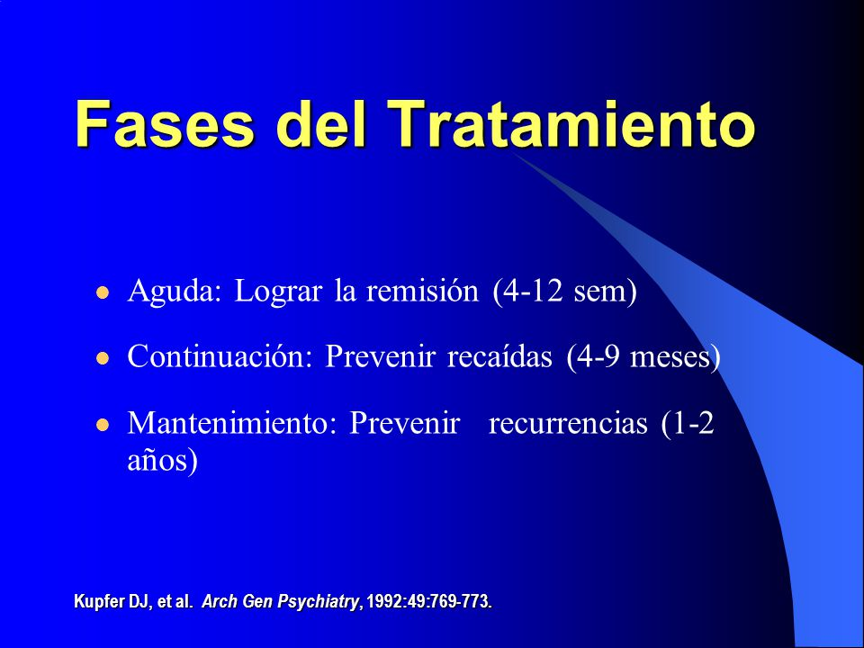 Fases del Tratamiento Aguda: Lograr la remisión (4-12 sem)