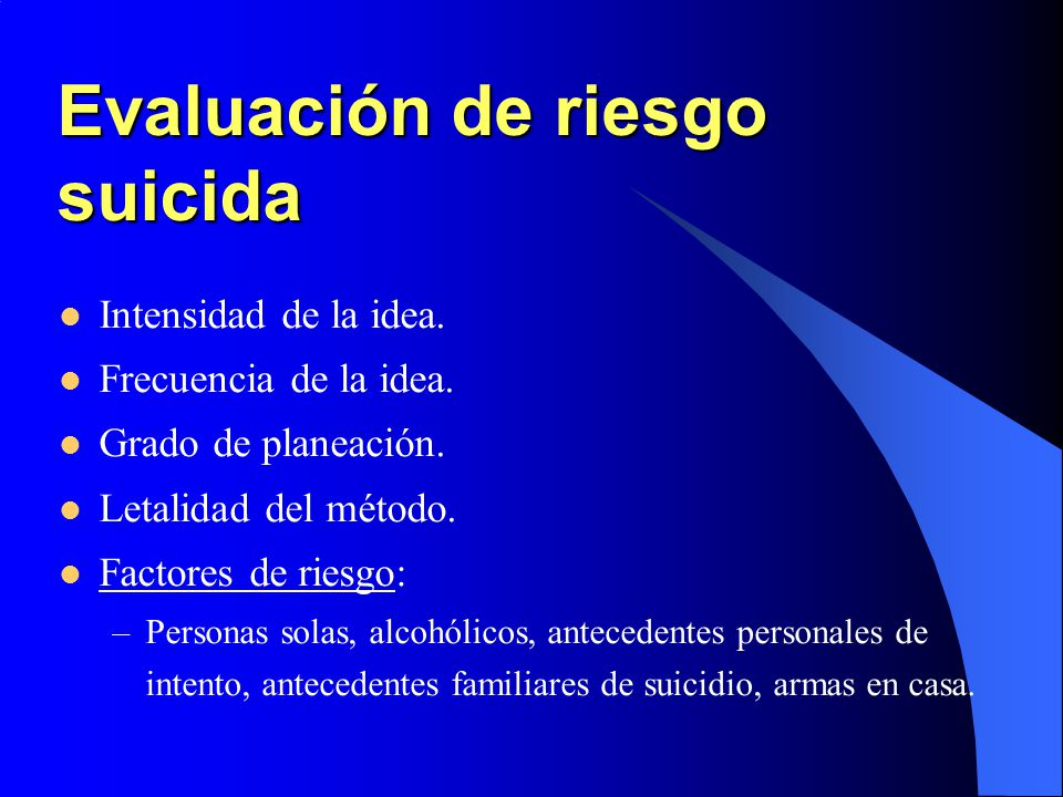 Evaluación de riesgo suicida