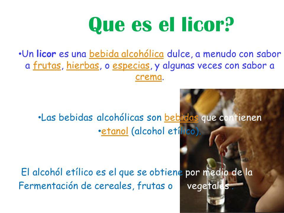 Que es el licor Un licor es una bebida alcohólica dulce, a menudo con sabor a frutas, hierbas, o especias, y algunas veces con sabor a crema.