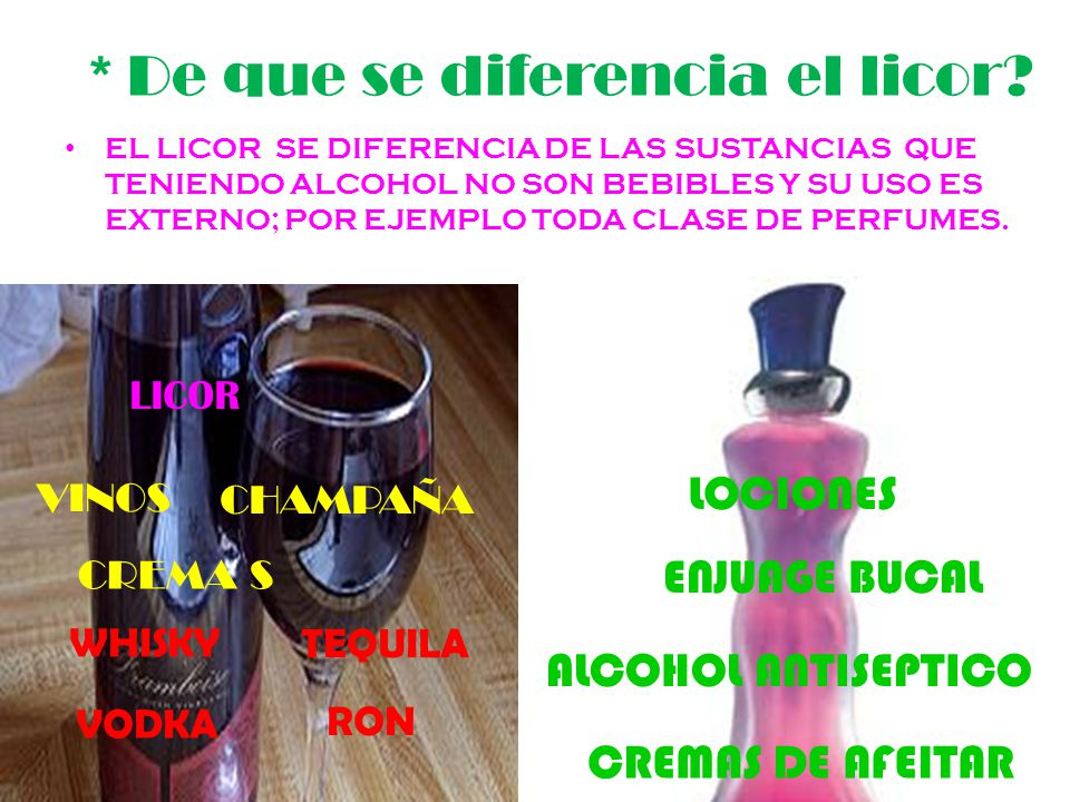 * De que se diferencia el licor