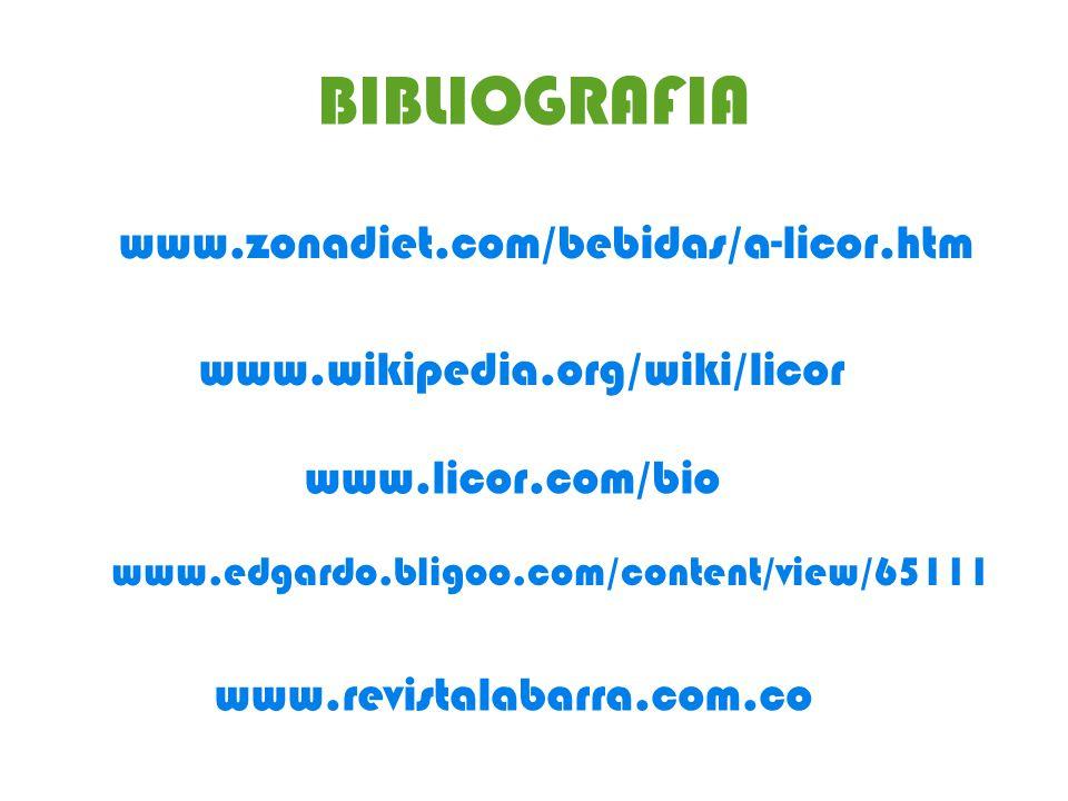 BIBLIOGRAFIA www.zonadiet.com/bebidas/a-licor.htm