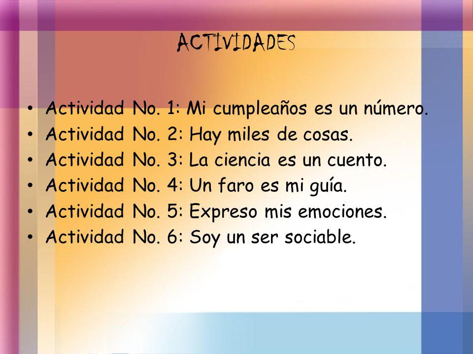 ACTIVIDADES Actividad No. 1: Mi cumpleaños es un número.