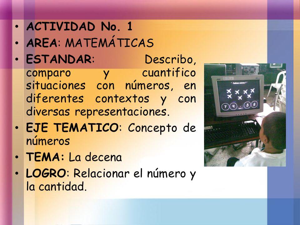 ACTIVIDAD No. 1 AREA: MATEMÁTICAS