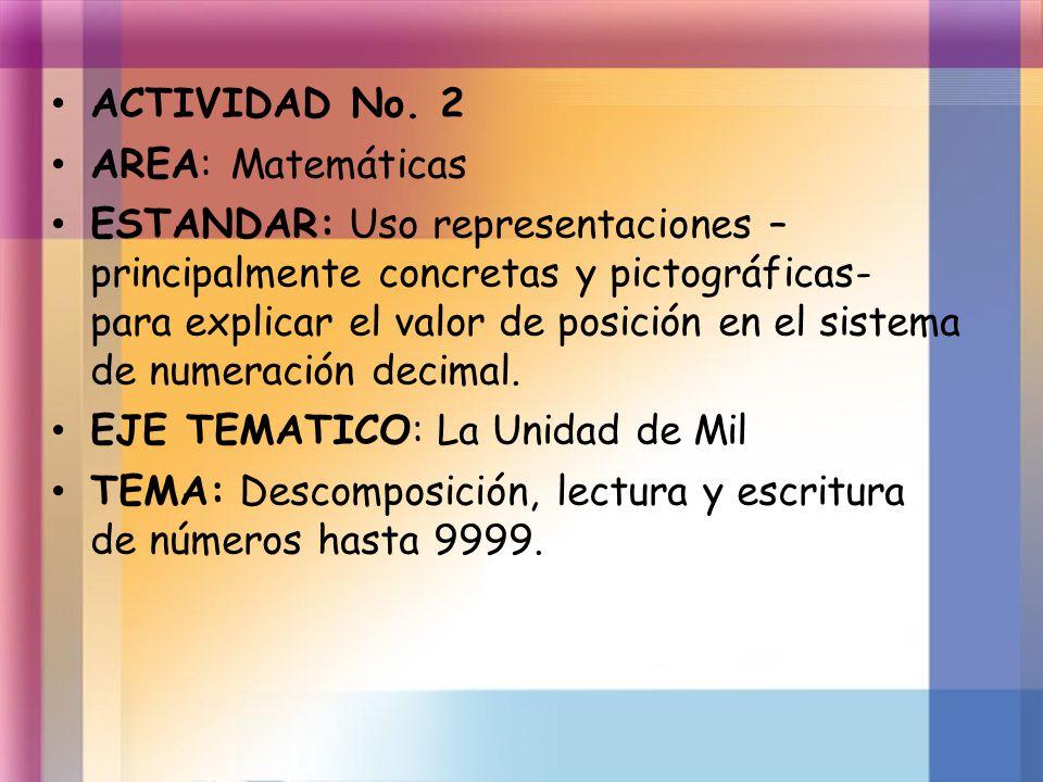 ACTIVIDAD No. 2 AREA: Matemáticas.