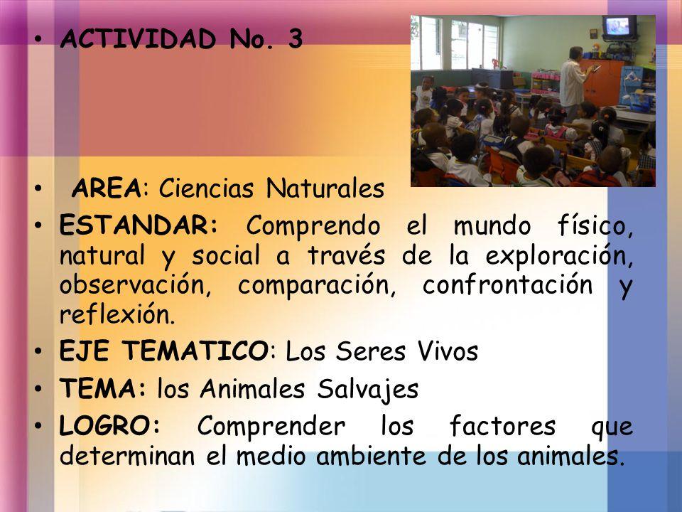 ACTIVIDAD No. 3 AREA: Ciencias Naturales.