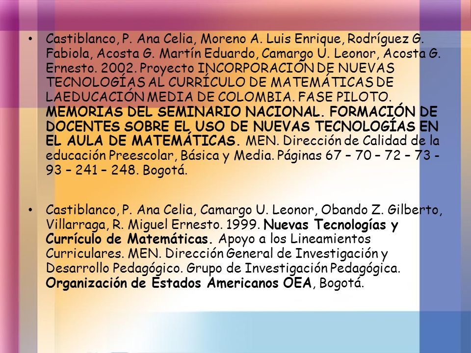 Castiblanco, P. Ana Celia, Moreno A. Luis Enrique, Rodríguez G