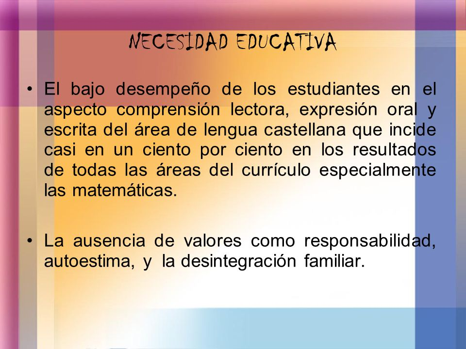 NECESIDAD EDUCATIVA