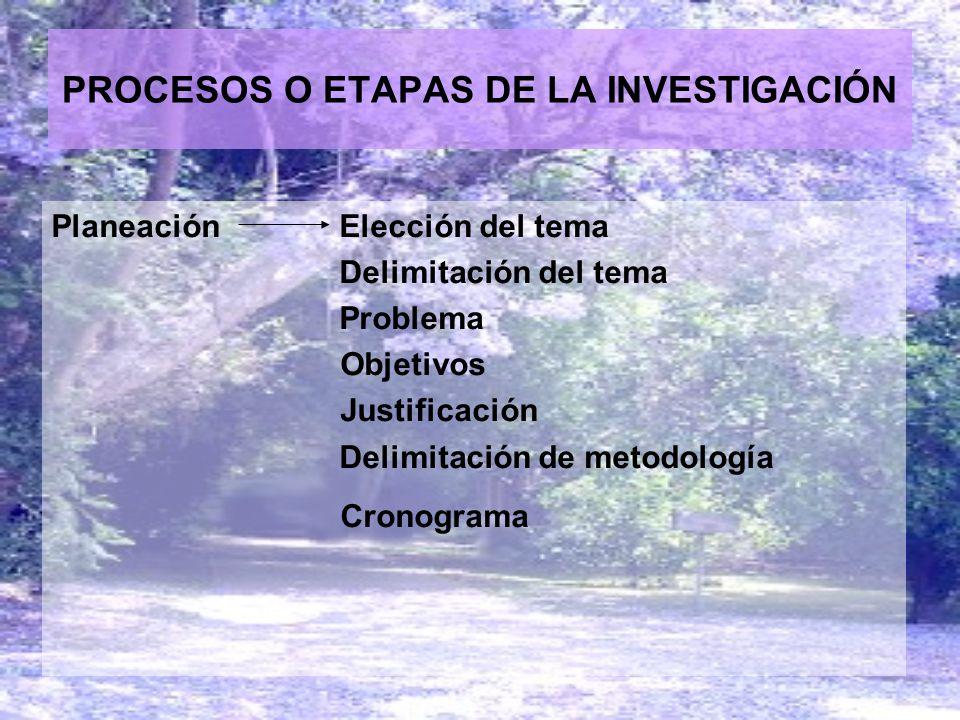 PROCESOS O ETAPAS DE LA INVESTIGACIÓN