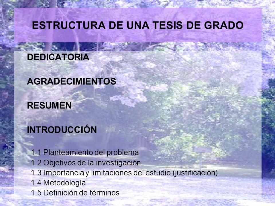 ESTRUCTURA DE UNA TESIS DE GRADO
