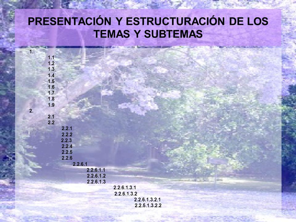 PRESENTACIÓN Y ESTRUCTURACIÓN DE LOS TEMAS Y SUBTEMAS