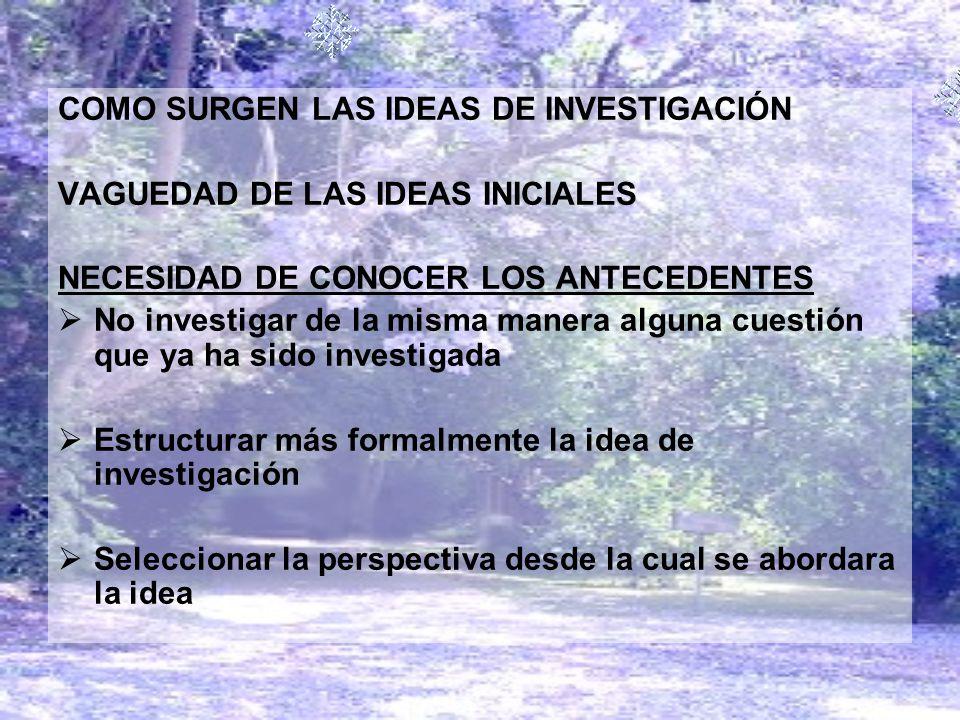 COMO SURGEN LAS IDEAS DE INVESTIGACIÓN