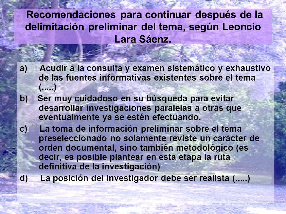 Recomendaciones para continuar después de la delimitación preliminar del tema, según Leoncio Lara Sáenz.