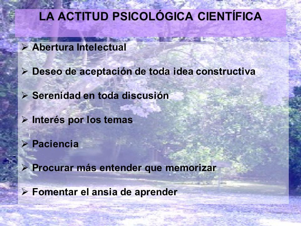 LA ACTITUD PSICOLÓGICA CIENTÍFICA