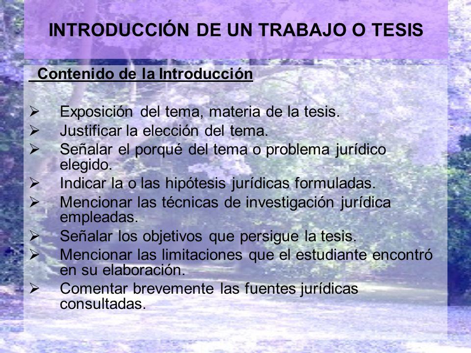 INTRODUCCIÓN DE UN TRABAJO O TESIS