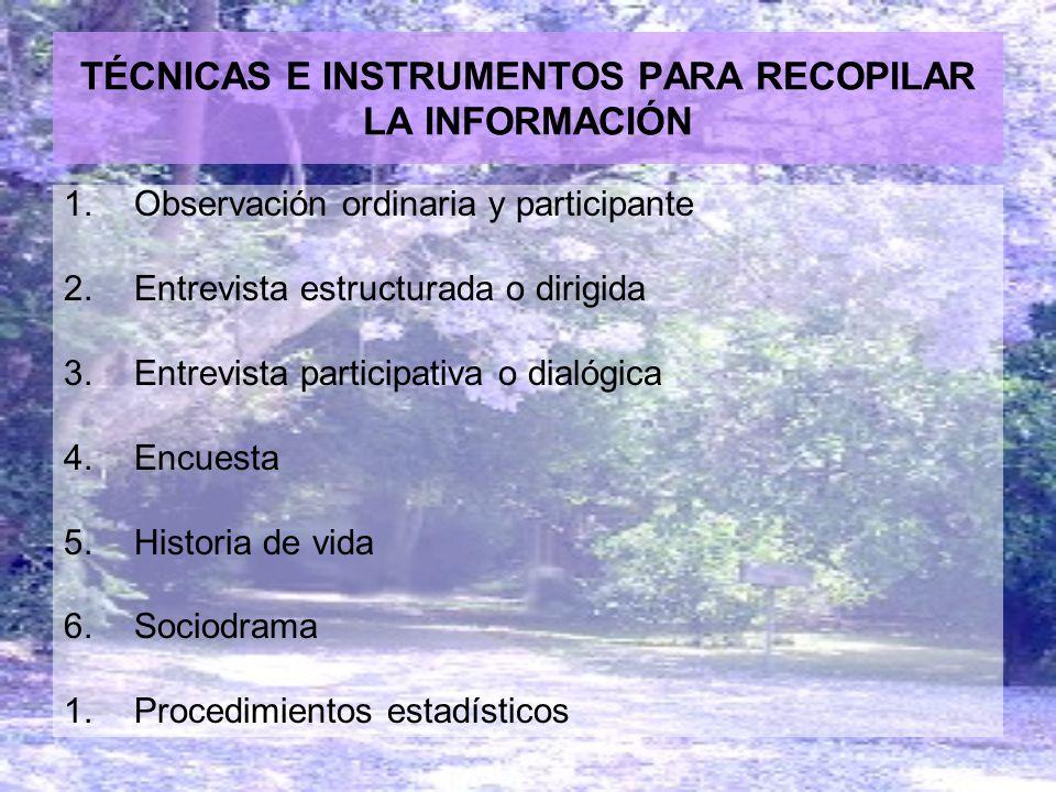 TÉCNICAS E INSTRUMENTOS PARA RECOPILAR LA INFORMACIÓN