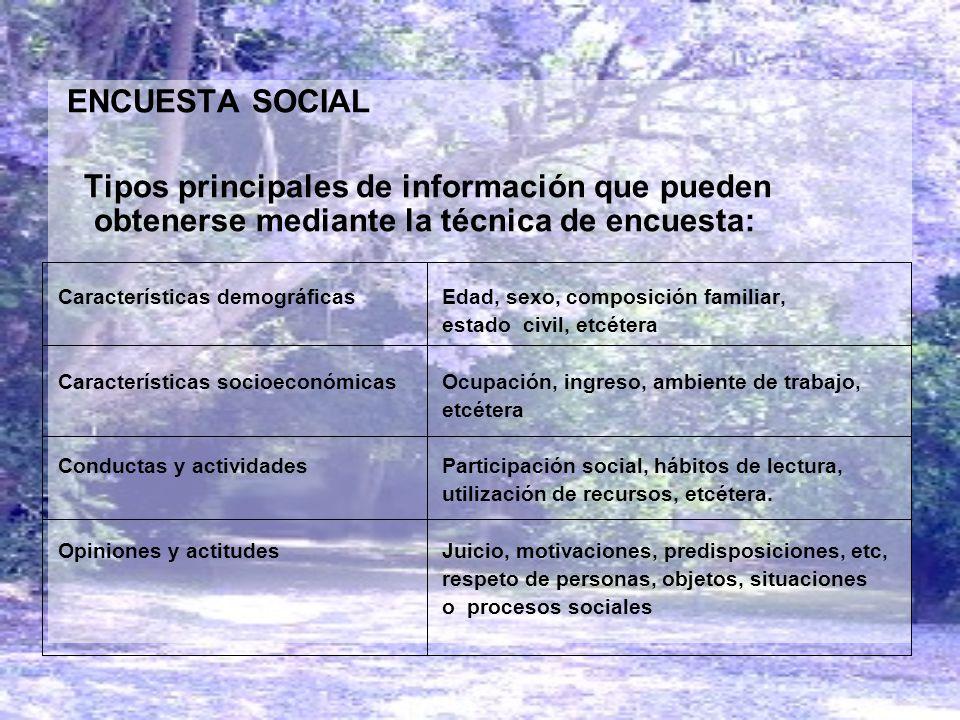 ENCUESTA SOCIAL Tipos principales de información que pueden obtenerse mediante la técnica de encuesta: