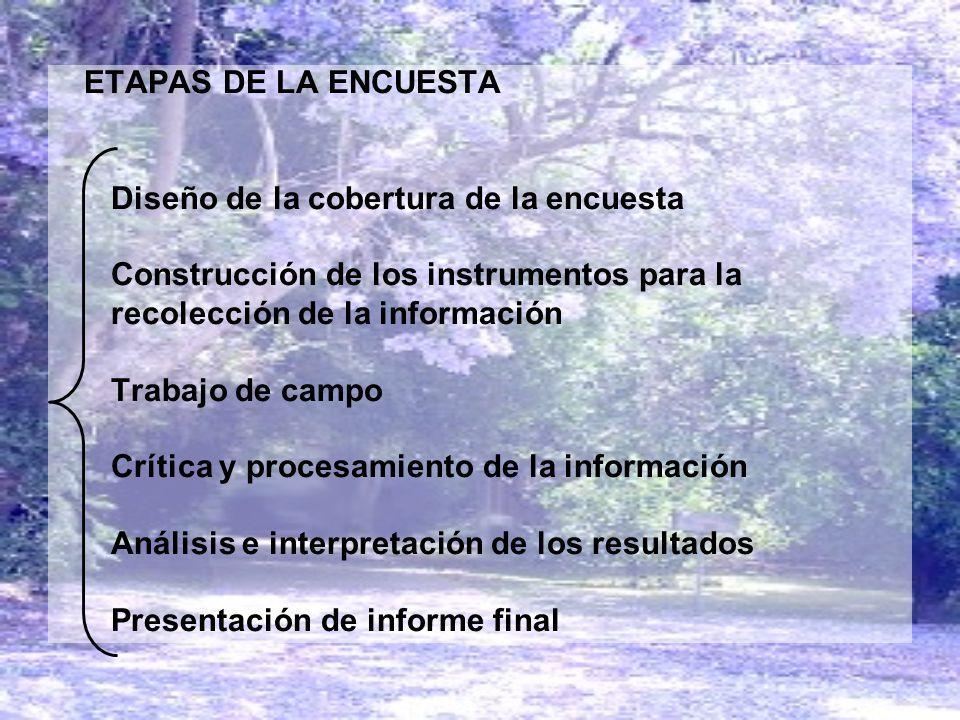 ETAPAS DE LA ENCUESTA Diseño de la cobertura de la encuesta. Construcción de los instrumentos para la.