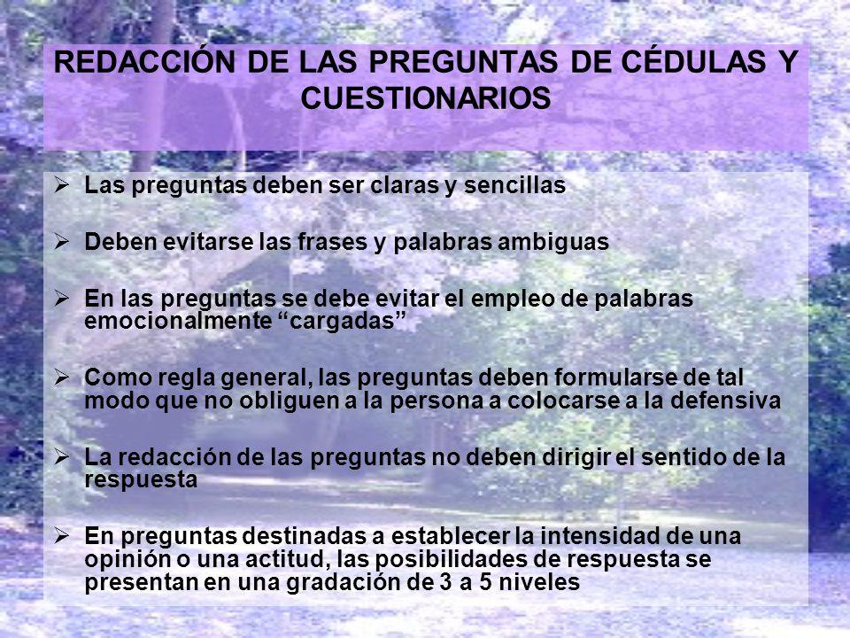 REDACCIÓN DE LAS PREGUNTAS DE CÉDULAS Y CUESTIONARIOS