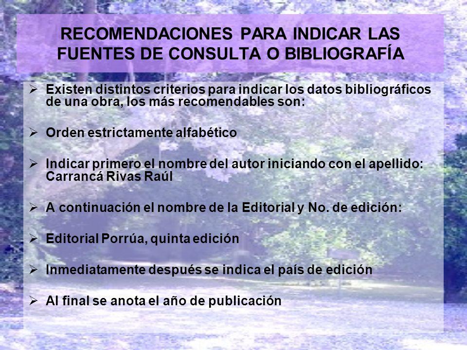 RECOMENDACIONES PARA INDICAR LAS FUENTES DE CONSULTA O BIBLIOGRAFÍA