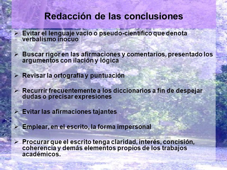 Redacción de las conclusiones