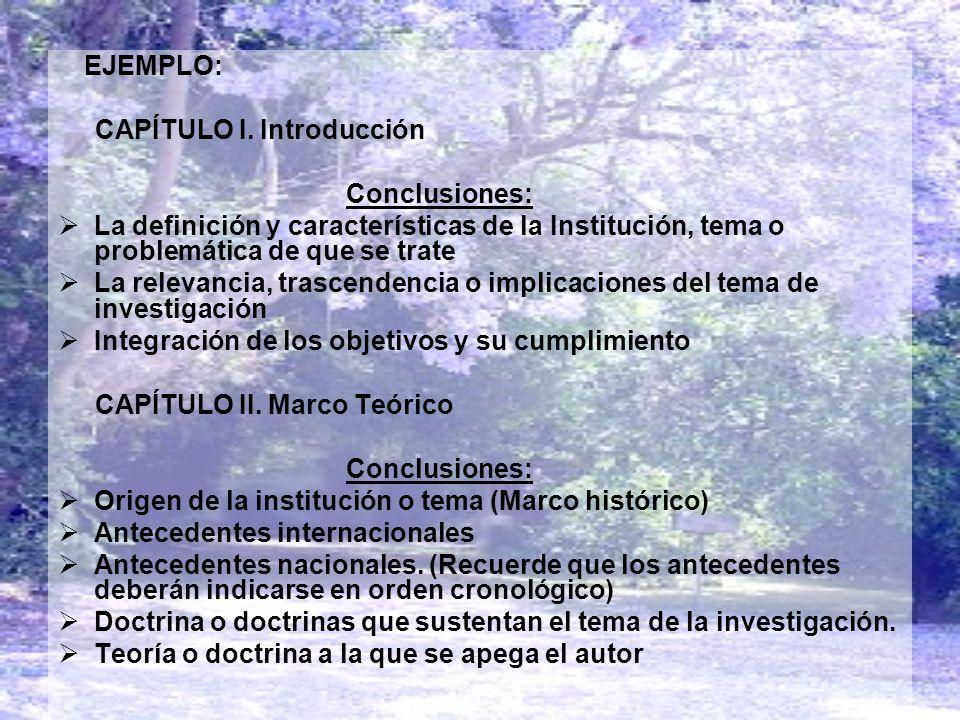 CAPÍTULO I. Introducción Conclusiones: