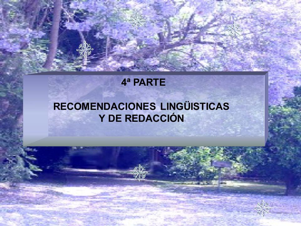 RECOMENDACIONES LINGÜISTICAS