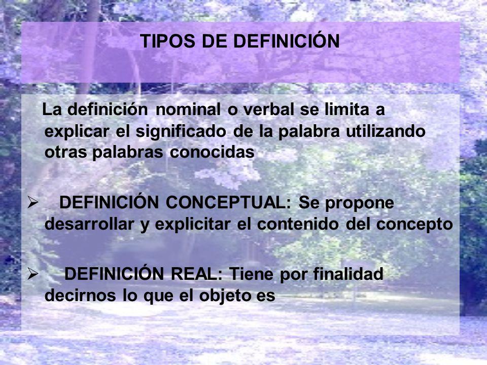 TIPOS DE DEFINICIÓN La definición nominal o verbal se limita a explicar el significado de la palabra utilizando otras palabras conocidas.
