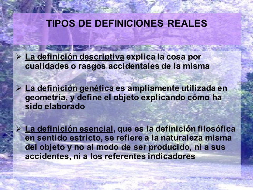 TIPOS DE DEFINICIONES REALES