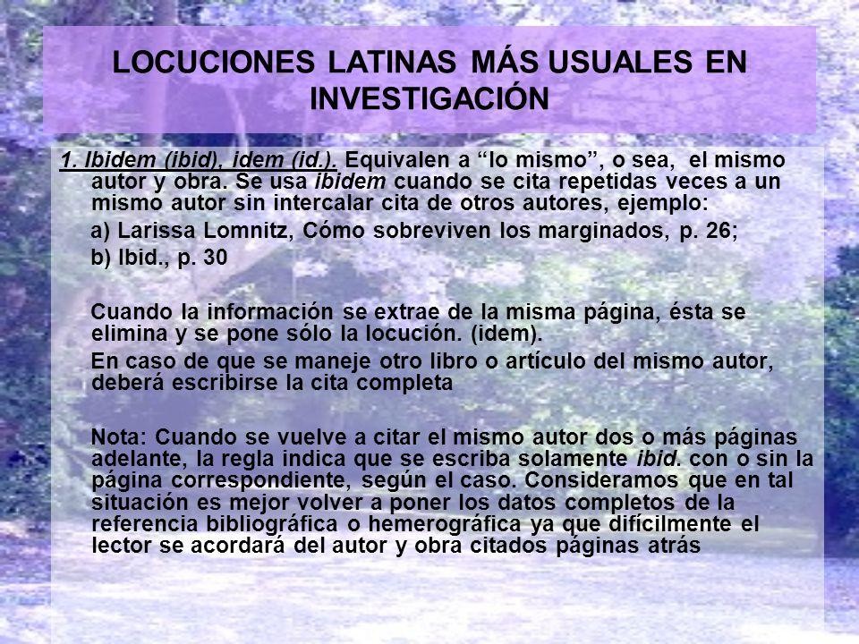 LOCUCIONES LATINAS MÁS USUALES EN INVESTIGACIÓN