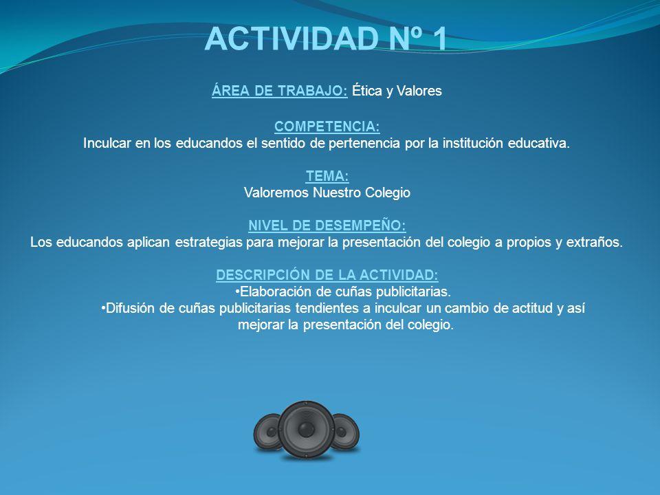 ACTIVIDAD Nº 1 ÁREA DE TRABAJO: Ética y Valores COMPETENCIA: