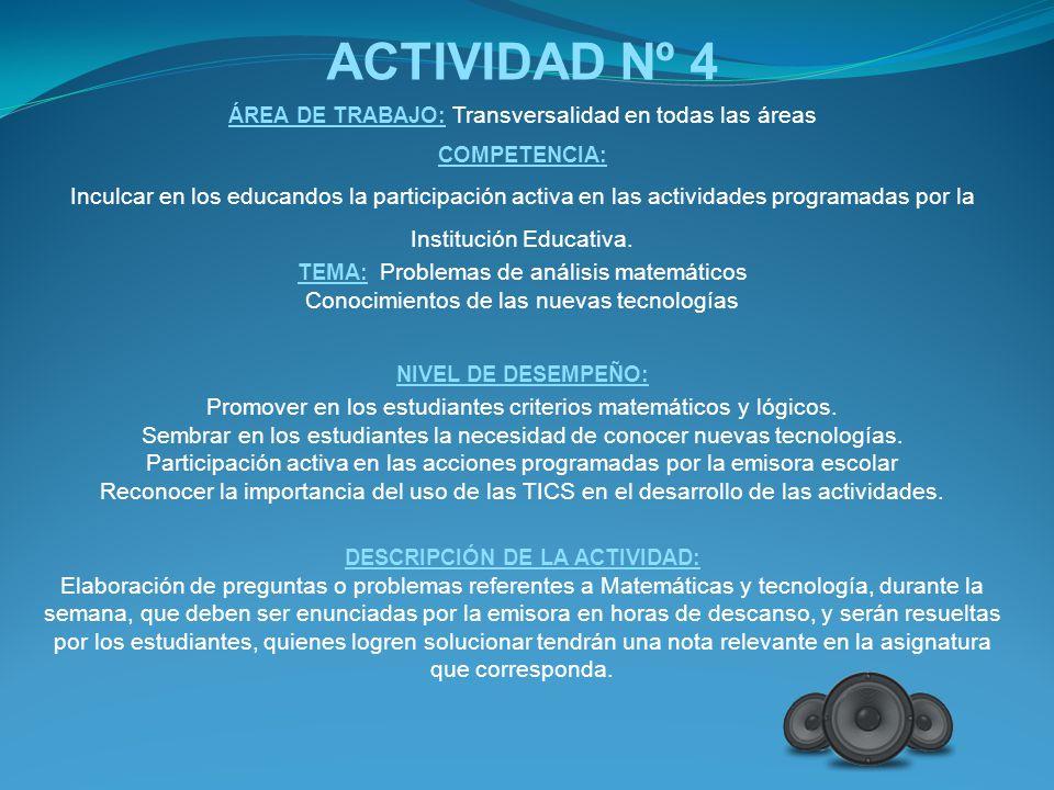 DESCRIPCIÓN DE LA ACTIVIDAD: