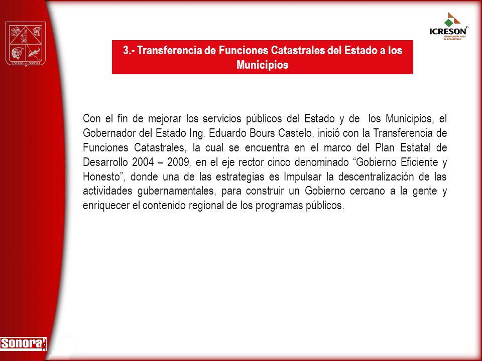 3.- Transferencia de Funciones Catastrales del Estado a los Municipios
