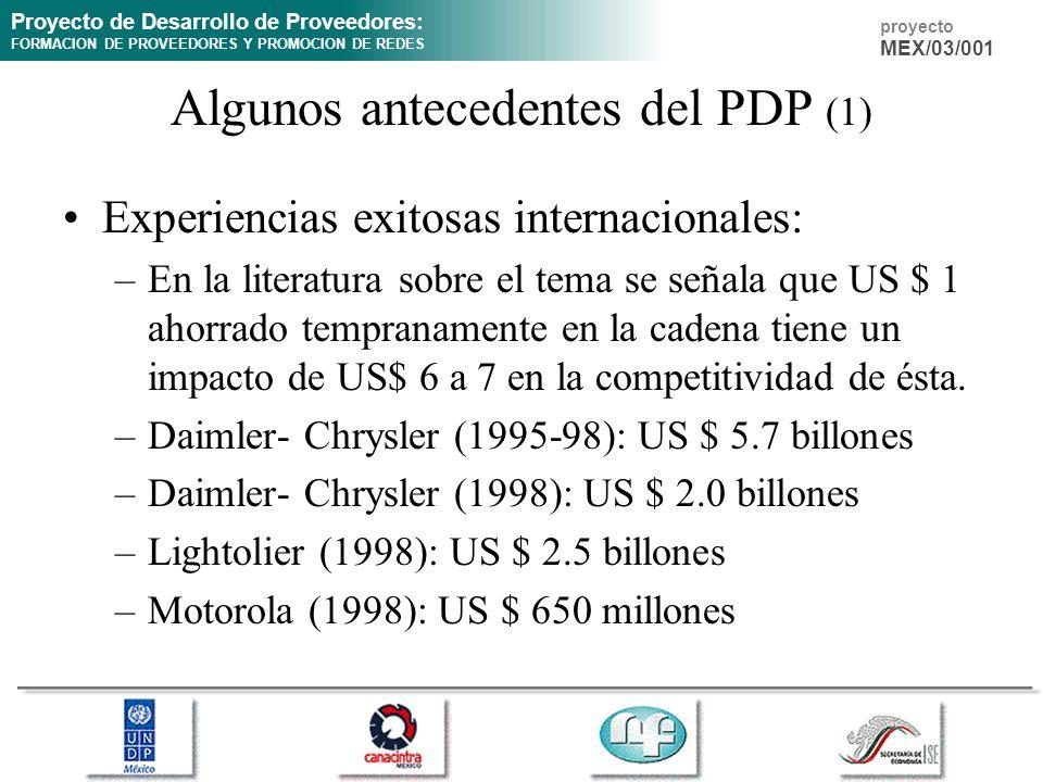 Algunos antecedentes del PDP (1)