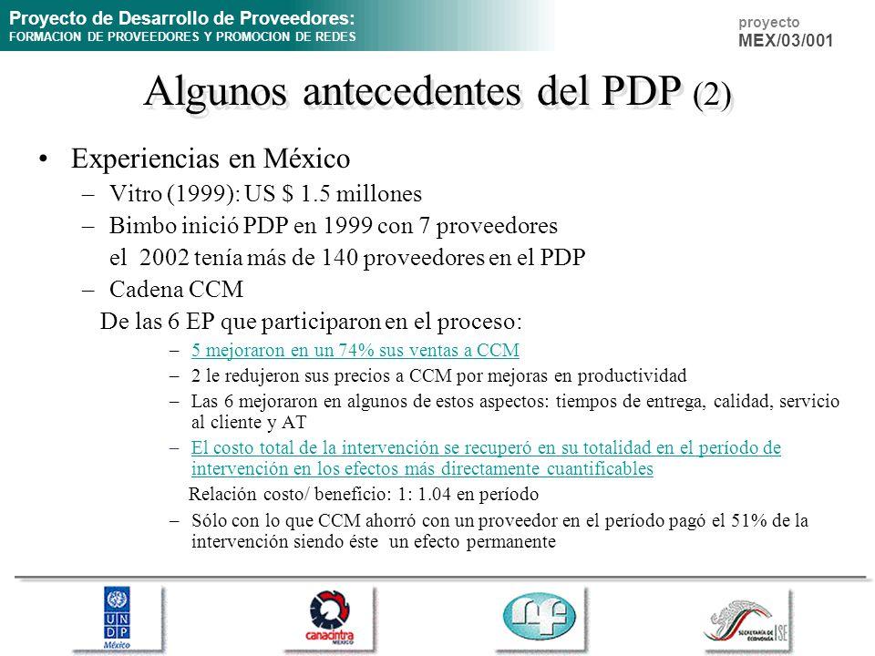 Algunos antecedentes del PDP (2)