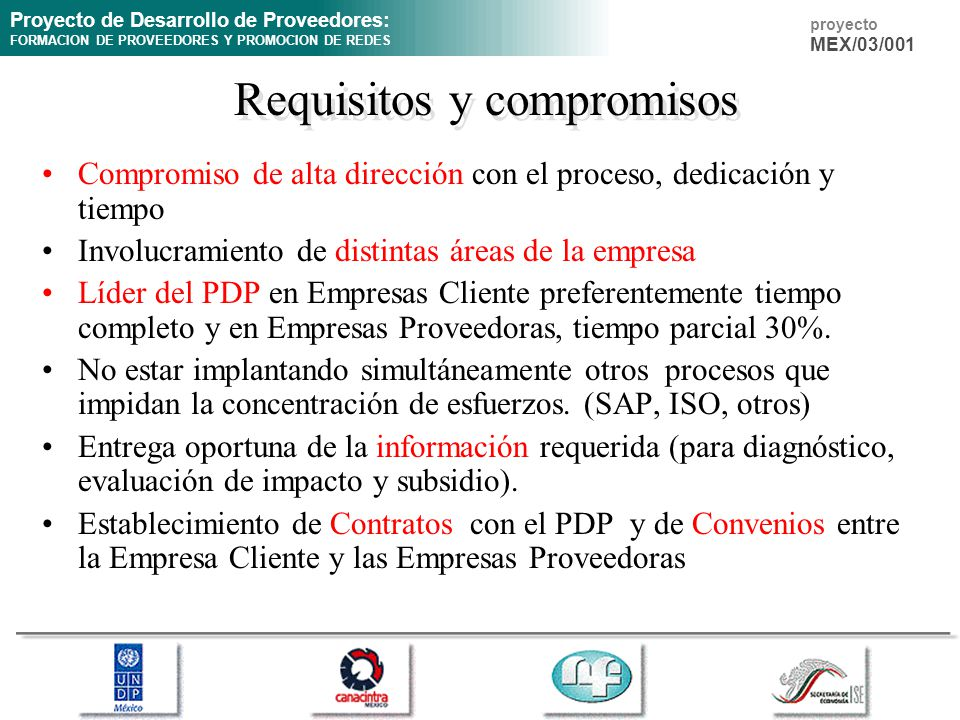 Requisitos y compromisos