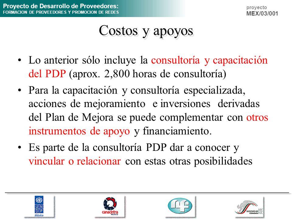 Costos y apoyos Lo anterior sólo incluye la consultoría y capacitación del PDP (aprox. 2,800 horas de consultoría)