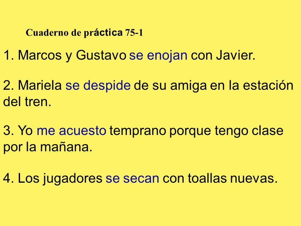 1. Marcos y Gustavo se enojan con Javier.